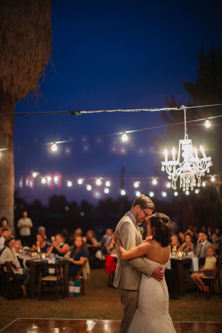 Outdoor First Dance with Chandelier and String Lights