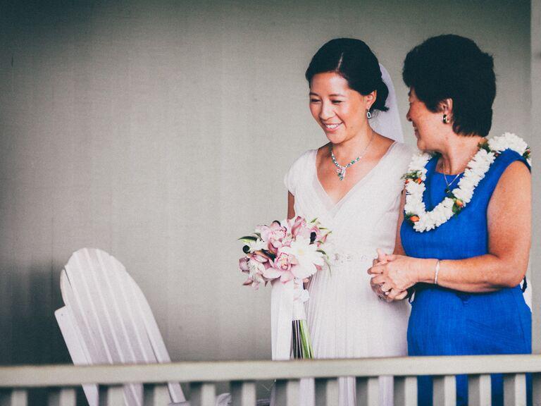 Mother of the bride at Hawaiian wedding