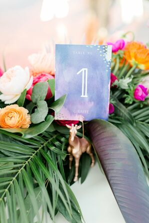 DIY Watercolor Table Numbers with Gold Animal Holders