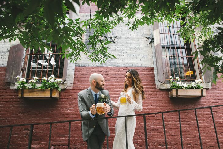 """We just wanted the wedding to be a warm and inviting place for everyone,"" Amanda says of their wedding at Radegast Hall & Biergarten in Brooklyn, New York. ""The same way we like to entertain at home—no formalities, just a lot of love and food and drinks in a place where all our friends and family could get to know one another."""