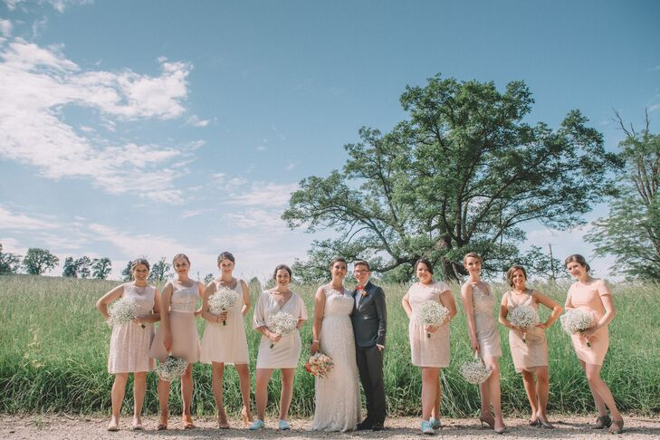 Short Mismatched Lace Bridesmaid Dresses