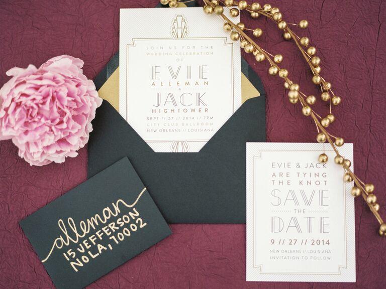 Glam black, purple and white invitation suite