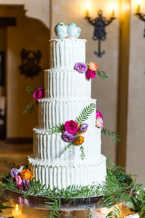 Bold, Floral, Five-Tier Cake With Bluebird Topper