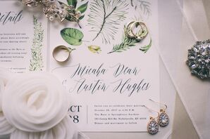 Watercolor Leaf Invitations with Curly Script