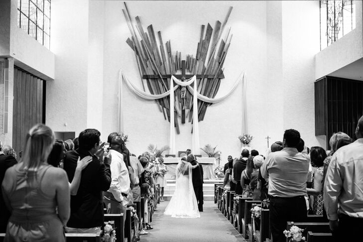 """The day started with a traditional ceremony at a nearby church, in which Maggie and Joseph exchanged heartfelt vows surrounded by their families and friends. After saying """"I do,"""" the pair whisked guests off to the Four Seasons for an unforgettable al fresco celebration."""