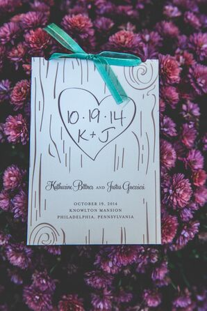 Woodland Wedding Invitations With Green Bow