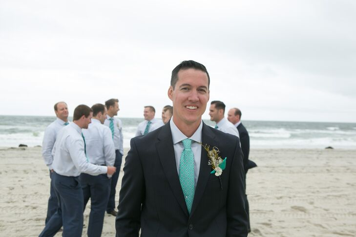 Groom and Groomsmen in Turquoise Paisley Ties