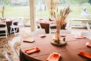 Chocolate Brown Fall Reception Decor