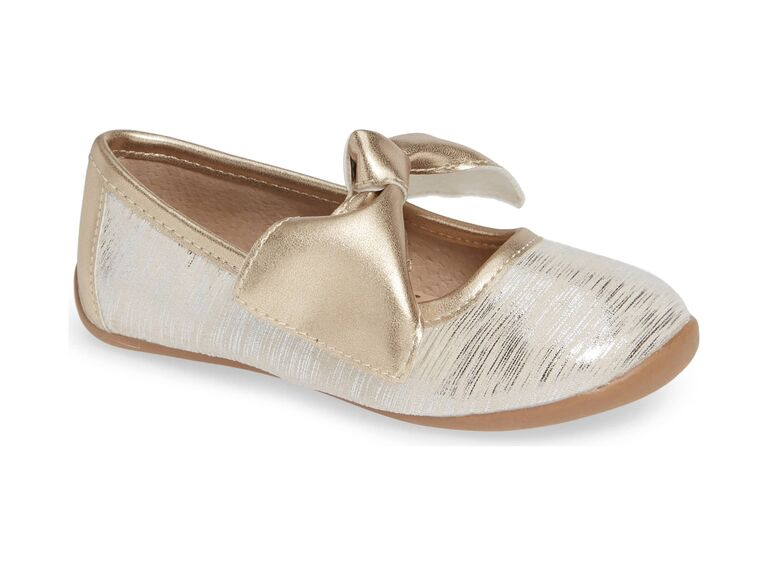 White and gold flower girl shoes