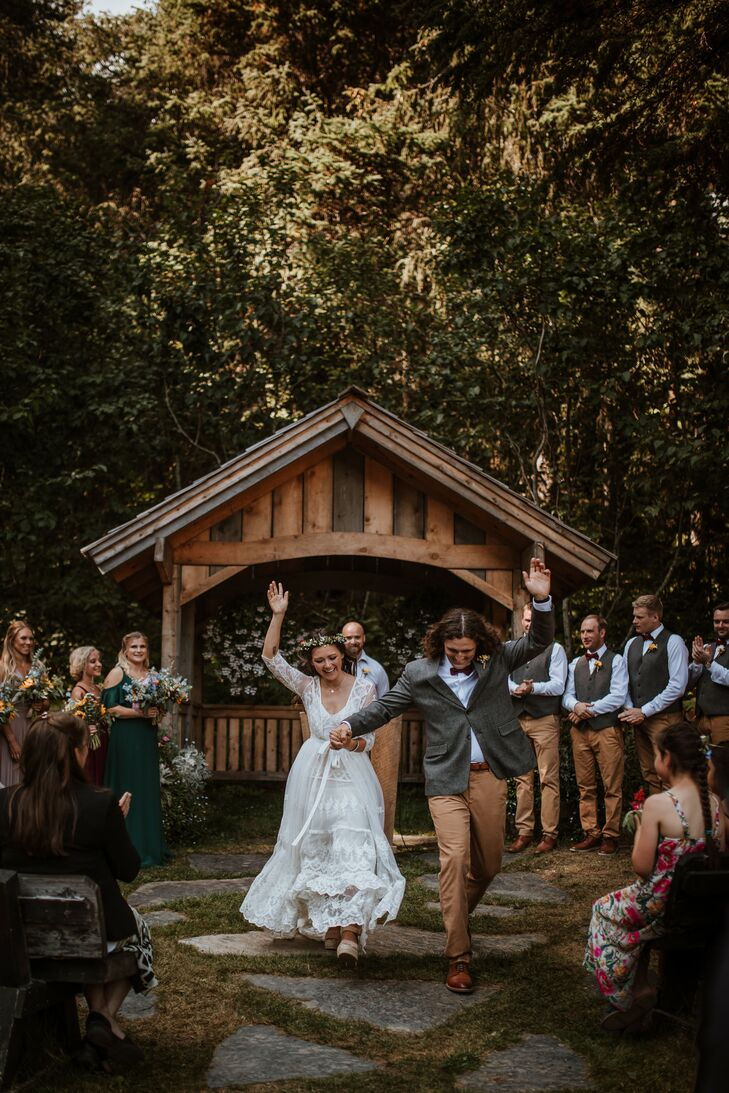 Casual Recessional with Bohemian Couple at Crow Creek Mine in Girdwood, Alaska
