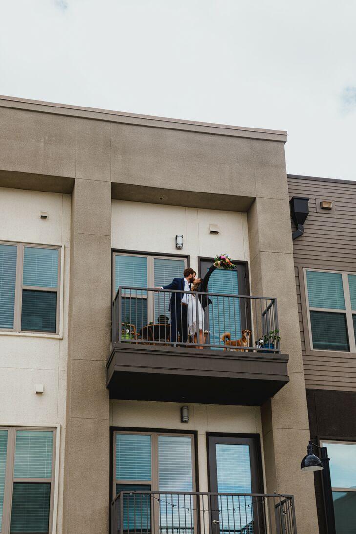 Porch Wedding Portraits at Pandemic Minimony in Dallas, Texas