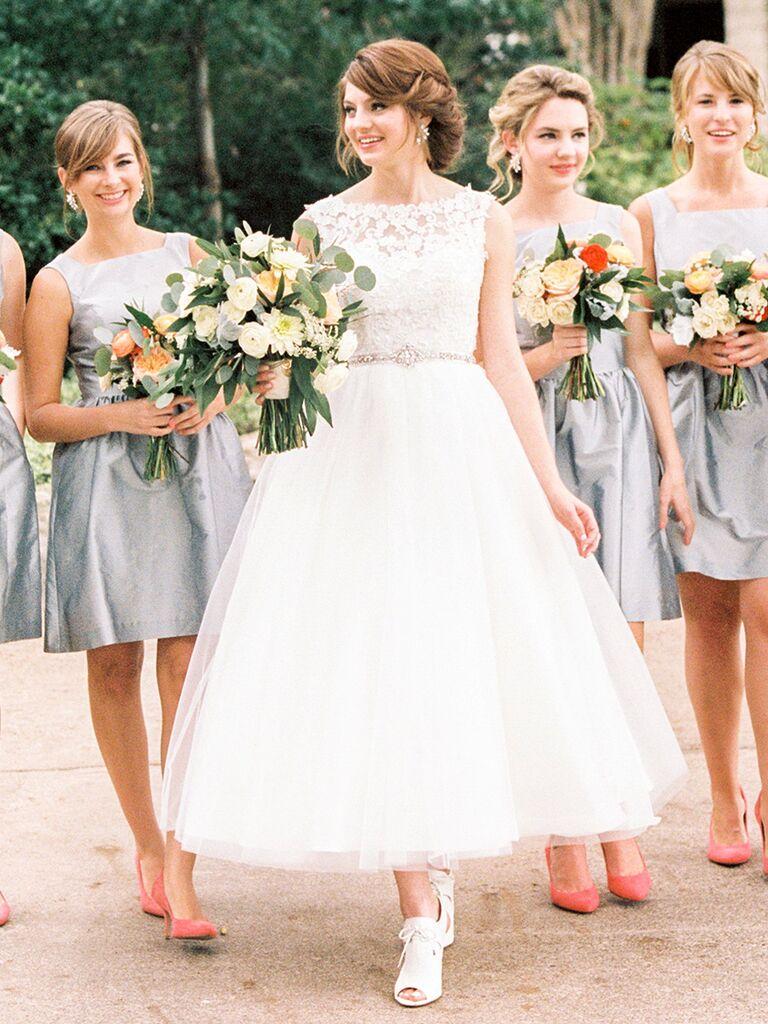 Demetrios tea-length white wedding gown