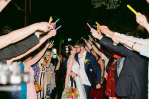 Casual Reception Exit with Glow Sticks