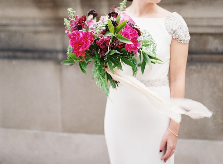 Vibrant Pink and Plum Bouquet with Ferns and Ribbon