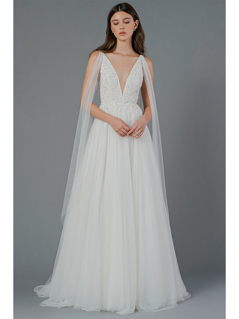 Jenny Yoo wedding dress plunging a-line dress with shoulder accent