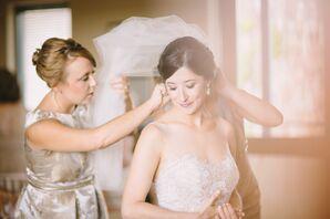 Bridesmaids Help Dress the Bride