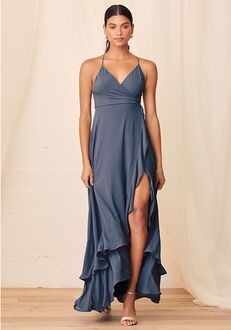 Lulus In Love Forever Granite Blue Lace-Up High-Low Maxi Dress V-Neck Bridesmaid Dress