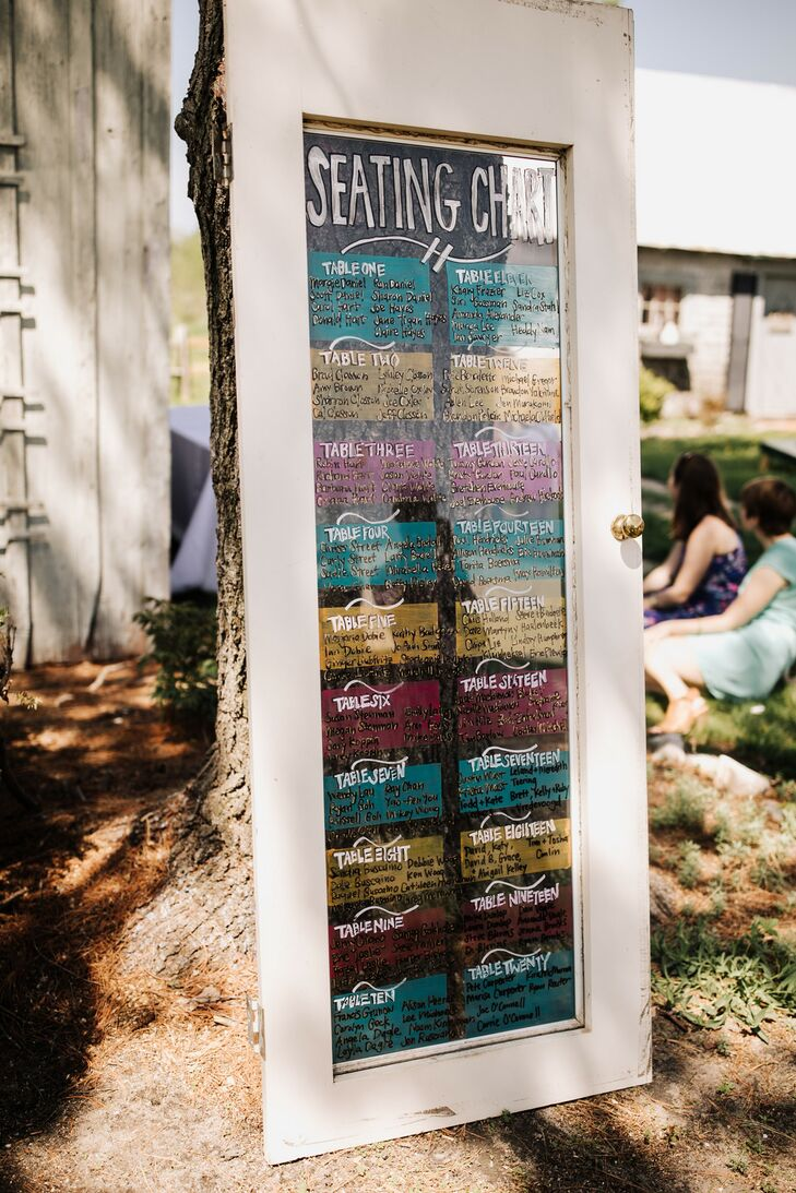 Casual, Colorful Seating Chart Sign with DIY Frame