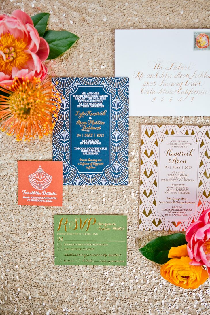 Kendrick and Aron's stationery had a 1920's glam feel with art deco prints, gold leaf and colorful paper.
