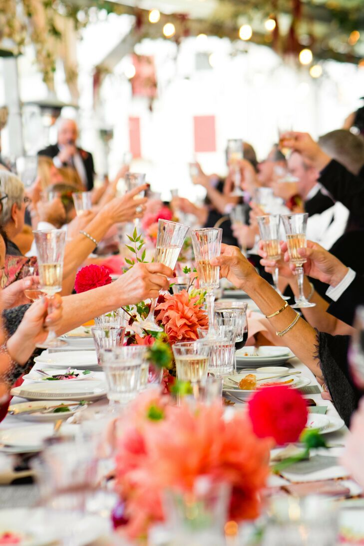 Reception Toast at Rooftop Garden Wedding in Brooklyn