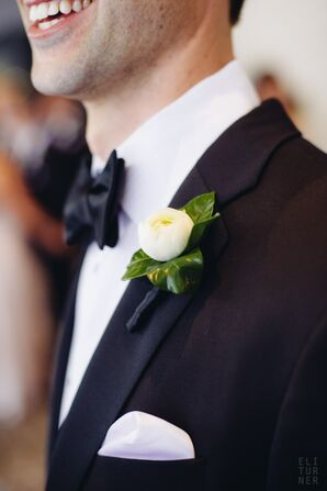 Classic White Ranunculus Boutonniere and Black Bow Tie