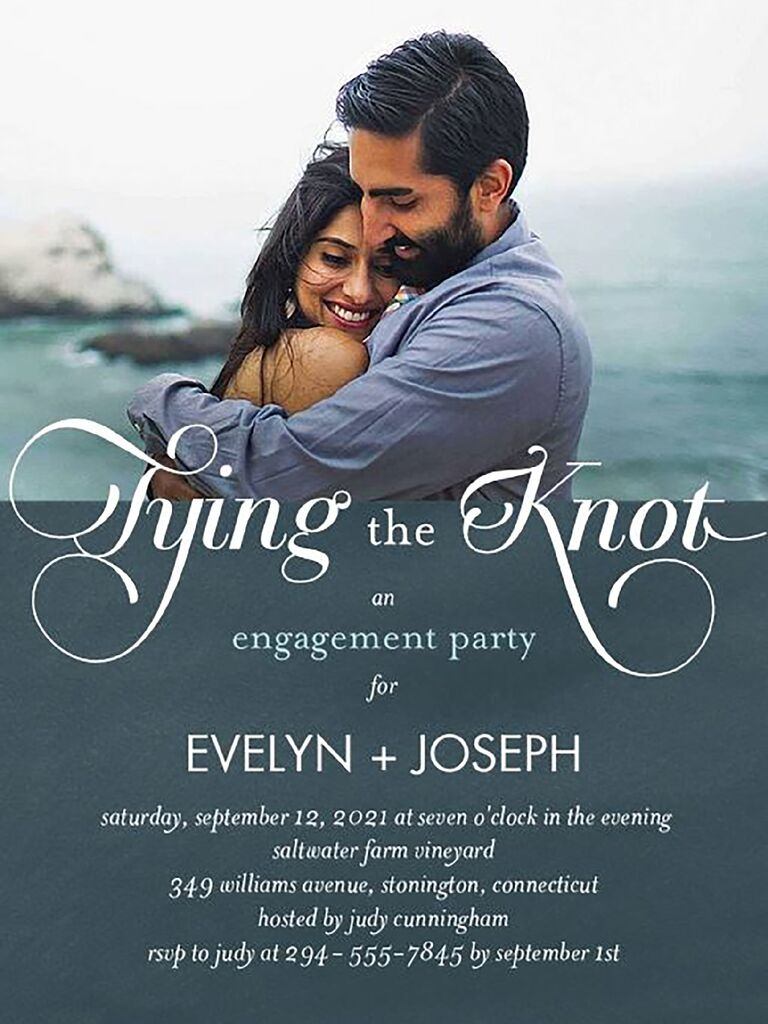 Romantic engagement party invite with photo