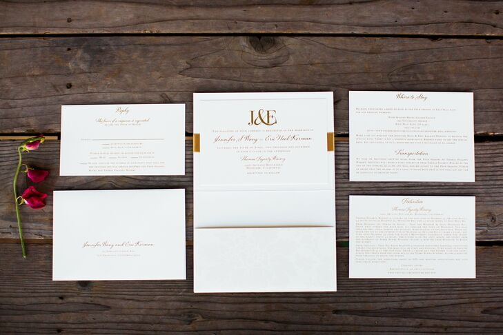 The Vera Wang invitations featured a pocket folder for three inserts with information on the reception, accommodations, transportation and a reply card.
