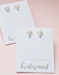 Dareth Colburn Naomi Freshwater Pearl Stud Bridesmaid Earrings (JE-4153-S-BR) Wedding Earring photo