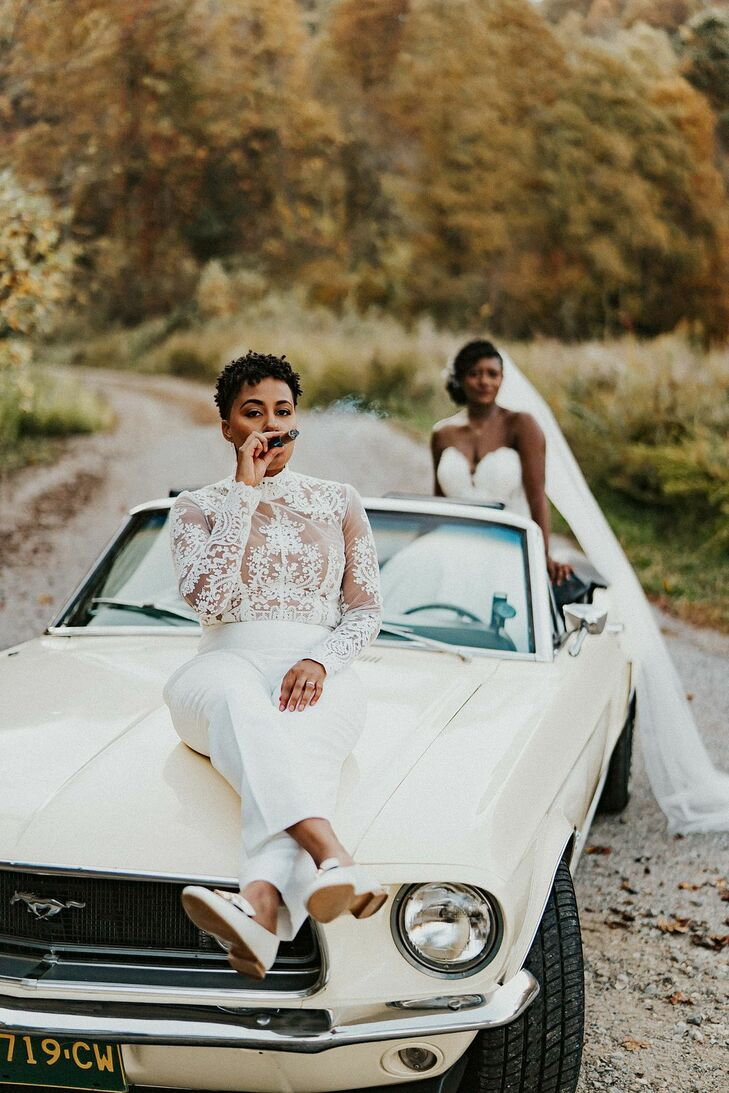 Couple Posing with Vintage Car in Asheville, North Carolina