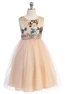 Kid's Dream Vintage Floral Sequin Back V Dress Pink Flower Girl Dress