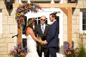 Sunflower, Succulent, Amaranthus, Wood Wedding Arch