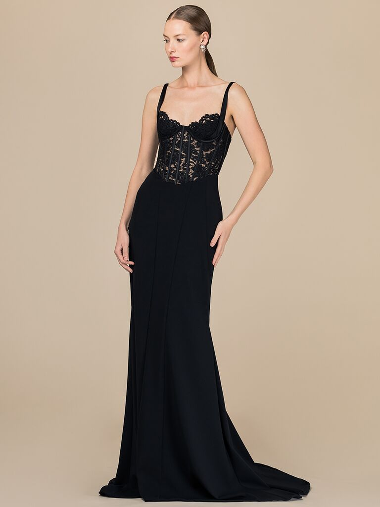 EDEM Demi Couture fitted black dress with lace bustier bodice