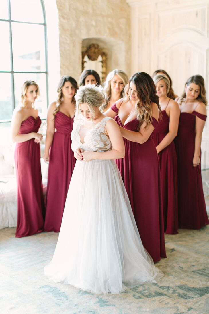 Three different merlot gown styles reflected the body types of Jessica's nine bridesmaids.