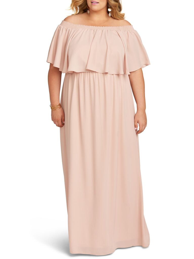 Blush off the shoulder plus size bridesmaid dress