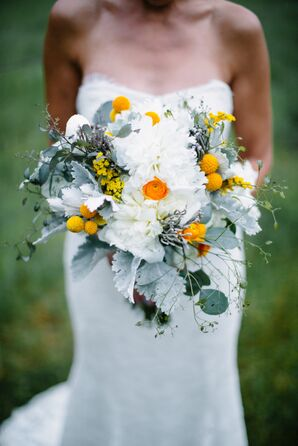 DIY White, Yellow and Mint Textured Bridal Bouquet