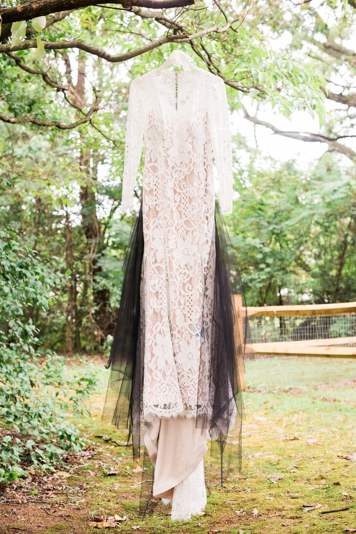 Vintage Lace Dress with Black Tulle Train