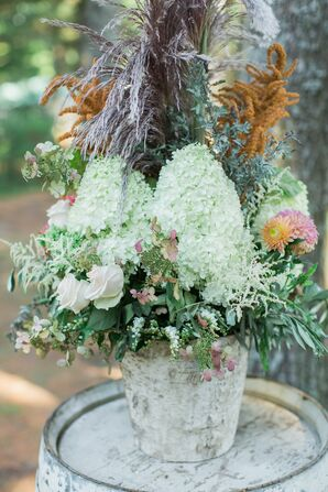 Rustic Hydrangea, Rose and Wildflower Arrangements