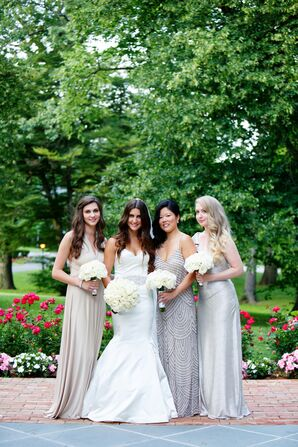 Formal Champagne and Silver Bridesmaid Dresses