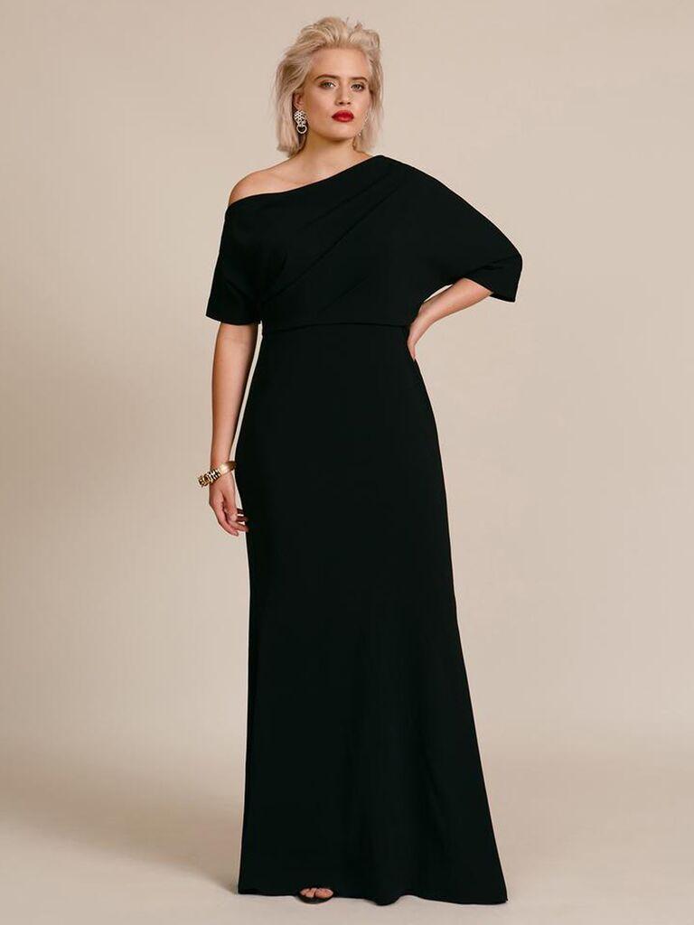 Black off-the-shoulder column dress