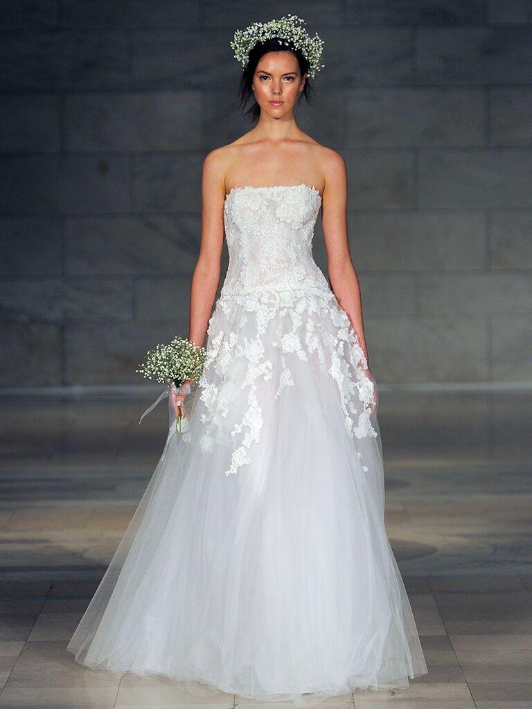Reem Acra Fall 2018 3-D embroidered strapless wedding dress