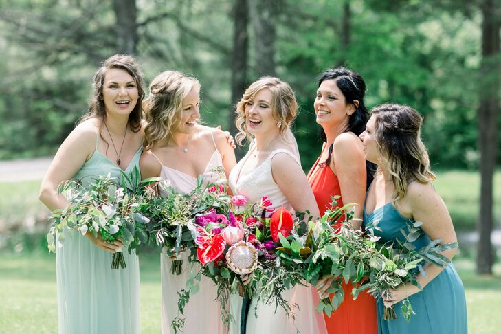 Classic Bridesmaids with Colorful Mismatched Dresses