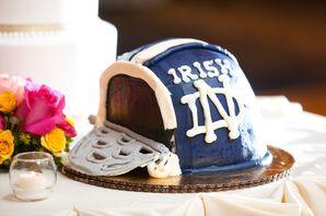 Blue Notre Dame Groom's Cake