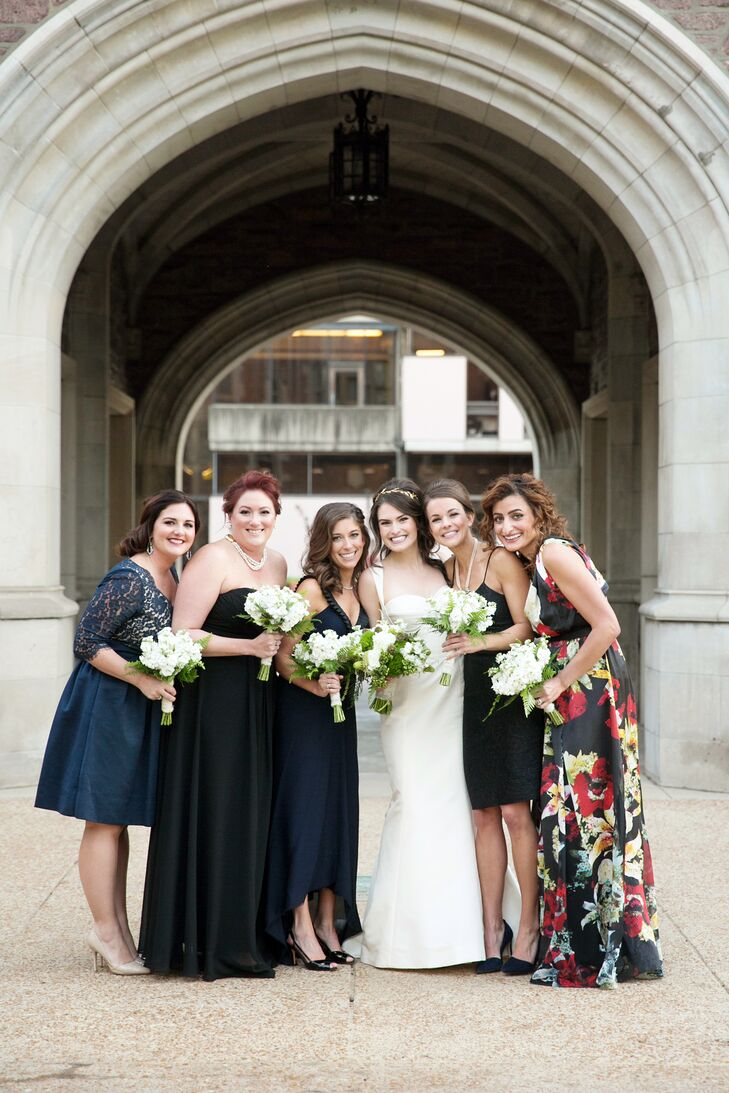 Mismatched Navy and Black Bridesmaid Dresses
