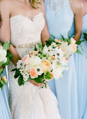 Classic Bouquets of Anemones, Baby's Breath, Roses, Peonies and Ranunculus