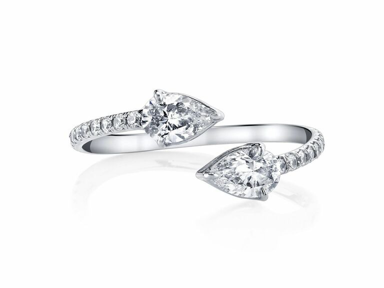 two stone diamond ring with pave band and pear diamonds