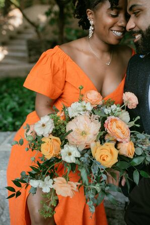 Orange Dress and Bouquet at Minimony in in Atlanta, Georgia