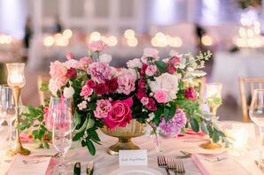 Pink Centerpiece with Roses and Peonies