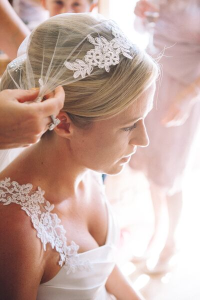 Rachel found her the perfect match for her wedding dress -- a 1920s vintage veil from eBay.