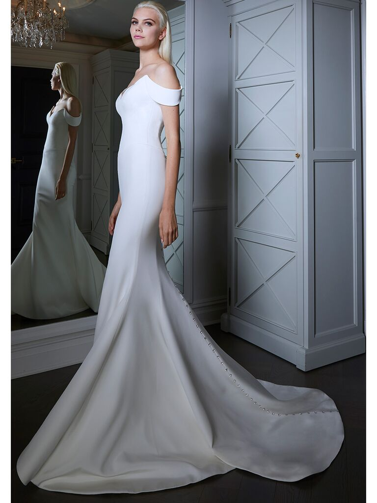 Romona Keveza wedding dress off-the-shoulder trumpet