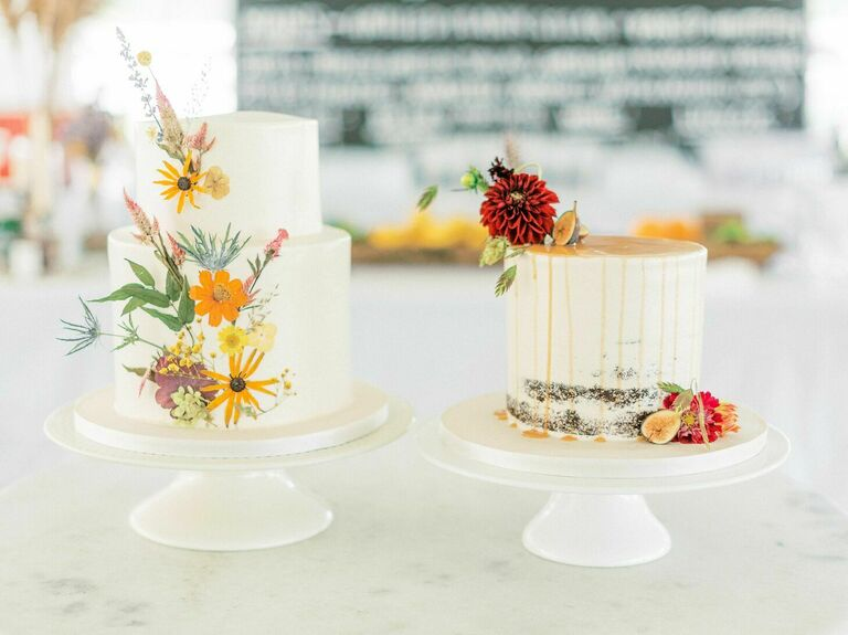 Wedding cake duo with pressed flowers